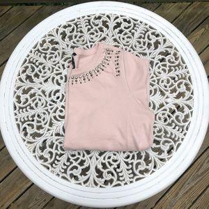 H&M 3/4 Sleeve Studded Pinky Nude Sweater